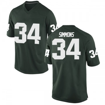 Men's Antjuan Simmons Michigan State Spartans Nike Game Green Football College Jersey